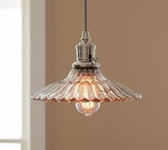 "LBW: like the shade but feel Edison light bulb too trendy for our kitchen-    PB Classic Pendant - Whitney $99 each 10.5"" diameter- looks vintage- could hang one high and one low"