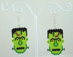 Beaded Frankenstein Earrings Halloween Jewelry by LazyRose