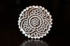 """Hand Carved Indian Wood Textile Stamp Block- Round Floral Motif. 1.5"""""""
