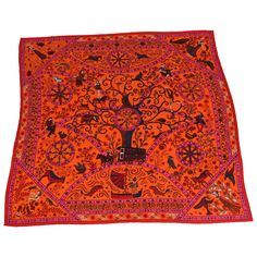 Large Hermes Silk and Cashmere Scarf | From a collection of rare vintage scarves at https://www.1stdibs.com/fashion/accessories/scarves/