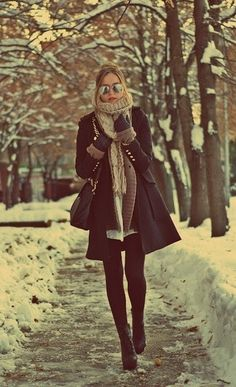 Autumn/ winter- coat, scarf, jeans and boots
