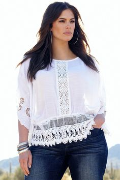 Plus Size Women's Fashion - Addition Elle Peasant Blouse - EziBuy Australia
