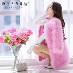 Rosa boneca 2016 novas roupas de inverno do longa seção de casaco de pele de luxo rosa D14DFR745