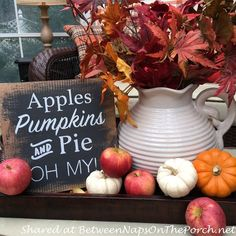 Decorate for Fall with Apples and Pumpkins from Between Naps on the Porch.