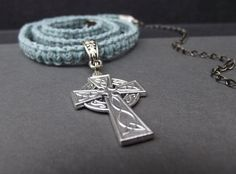 Inspirational Celtic Cross Gray Macrame Men's Necklace, Blue Grey Cord Hipster Unisex Jewelry Gift for Him