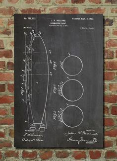 Submarine Poster Submarine Patent Submarine Print Submarine Art Submarine Decor Submarine Blueprint Submarine Wall Art