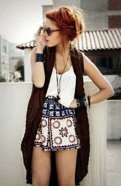 high waisted shorts, long top and white blouse. Love the shades too