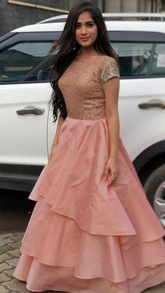 Buy for contact on whatapp Delicate Tapeta Silk Designer Gown in Peach- Thread Sutra price 2500 ₹ Indian Wedding Gowns, Indian Gowns Dresses, Indian Fashion Dresses, Indian Outfits, Pakistani Gowns, Maxi Dresses, Dress Fashion, Women's Fashion, Kurti Designs Party Wear