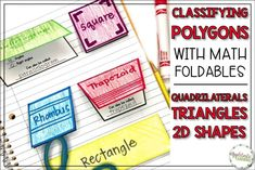 Help your upper elementary students master classifying polygons with math foldables! Math 5, Fun Math, Teaching Math, Math Activities, Fifth Grade Math, Sixth Grade, Two Dimensional Shapes, Upper Elementary, Elementary Education