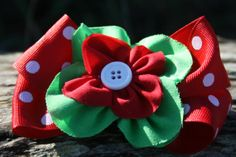Stacked Christmas bow. Red green and white by RockabillyBabyPlace, $5.50
