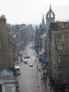 Royal Mile: this mile-long street earned its name in the 16thc when the king used it to travel between the castle and Holyrood Palace. This view is from the Castle entrance to Holyrood Palace's gates, Edinburgh
