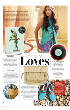 Ella Doran Sevens red coasters featured in the Absolutely Loves section in the May issue of Absolutely Putney.