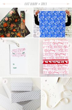 Seasonal Stationery: Holiday Gift Wrap + Tags | 1. Rifle Paper Co.; 2. Egg Press; 3. Belle & Union; 4. Studio Carta; 5. Smock; 6. Paper Lovely | Click through for full links and resources!