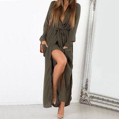 Sexy-Womens-Loose-V-Neck-Chiffon-Dress-Long-Sleeve-Beach-Party-Maxi-Shirt-Dress