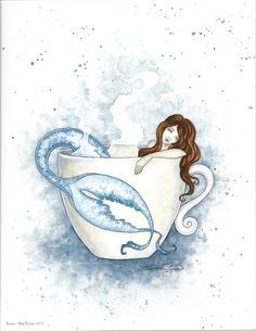 Relax, Print #fantasyart  #amybrown #coffeeandtea