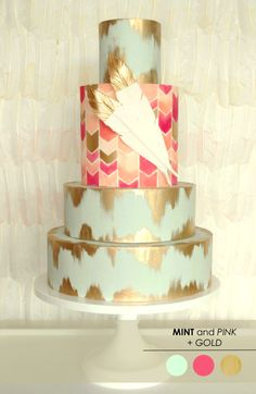 Coral Mint and Gold wedding cake