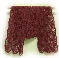 Burgundy Scarf - Hairpin Lace - Light Weight Acrylic
