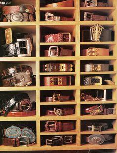 Belt storage. Vogue magazine circa 1980s.