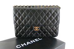 Chanel Black Lambskin 10inch Medium 2.55 Classic Flap Bag