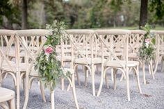 White Washed Crossback Chairs at Ceremony Site and Dinner Outdoor Furniture Sets, Outdoor Decor, Twin, Dining Chairs, Dinner, Home Decor, Dining, Decoration Home, Room Decor