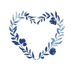 A beautiful heart shaped blue watercolour floral wreath. Floral Wreath Watercolor, Watercolor Heart, Watercolor Flowers, Photo Wall Decor, Floral Drawing, Plant Drawing, Floral Logo, Stock Foto, Quilling Patterns