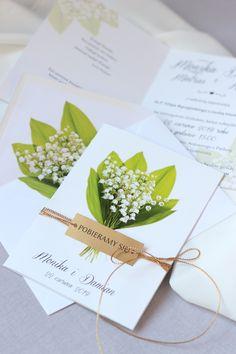 zaproszenia ślubne z konwaliami , eleganckie ze złotym sznurkiem Place Cards, Place Card Holders, Wedding, Valentines Day Weddings, Weddings, Marriage, Chartreuse Wedding
