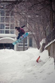 OMG!! Snowbording in the street!! -Joanie Robichaud