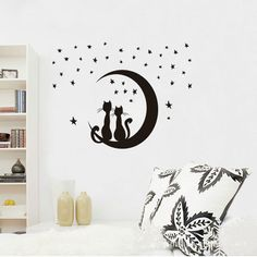 Free Shipping   Star Kitty   3D DIY Fashion Removable bedroom wall ideas   Star Cat Home Decration Wallpaper Wall Sticker