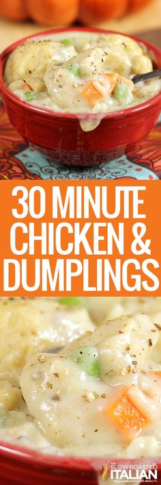 Chicken and Dumpling Chicken and Dumplings is a dish that goes from prep to plate in 30 minutes! A simple 1 pot recipe that is packed with chicken veggies and delicious dumplings with no canned 'cream of whatever' soup needed. Cooker Recipes, Soup Recipes, Chicken Recipes, Dinner Recipes, Easy Recipes, Quiche Recipes, Family Recipes, Amazing Recipes, Casserole Recipes
