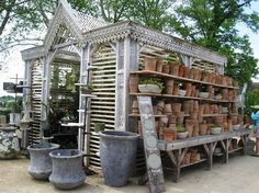 potting table on back of shed