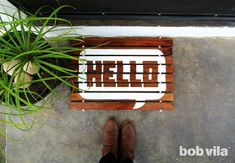 DIY Doormat - Hello! Personalized Wooden Welcome Mat