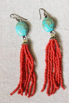Tassel bead earrings turquoise and red glass bead tassels, hypoallergenic.