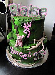 sweet 16 camo cakes | Sweet 16 camo cake! (Cakes Infinity (Jessica)) Tags: pink cake pig ...