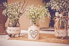 Buralp Wedding Vase this would be cute with some tied with tiny pearls an lace around the burlap.