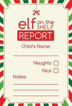 Elf on the Shelf Report Digital Printable by ScrapbookHub on Etsy, $2.50