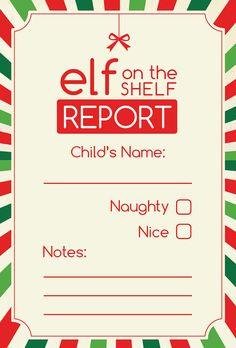 Elf on the Shelf Report Digital Printable by ScrapbookHub on Etsy, $2.50