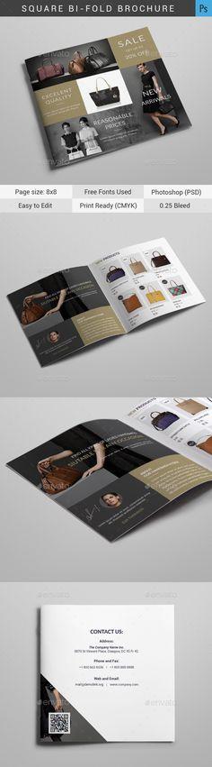 Handbags Square Bi-Fold Brochure Template PSD. Download here: https://graphicriver.net/item/handbags-square-bifold/17162228?ref=ksioks