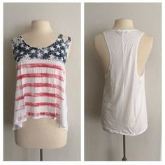 I just discovered this while shopping on Poshmark: Flag tank top. Check it out! Price: $19 Size: Various