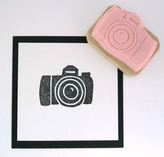 DSLR Camera Hand Carved Rubber Stamp. $6.00, via Etsy.