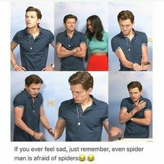 Page 2 Read Living up to the name // Tom Holland from the story Tom Holland / Peter Parker Imagines by IAmThatIsLothlorien with reads. tomholland, home. Marvel Funny, Marvel Memes, Marvel Dc Comics, Ms Marvel, Captain Marvel, San Claflin, Images Kawaii, Marvel Universe, Marvel Avengers