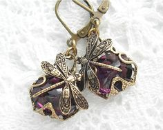 Amethyst Dragonfly Filigree Wrapped by MorningGloryDesigns on Etsy, $18.00
