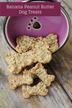 Peanut Butter Banana Dog Treats Recipe: 4 ingredients, 2T PB, 1.5c oatmeal, 1 banana, and an egg. Bake @ 350 for about 12-15 min.