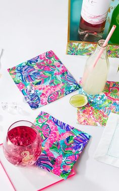 This set of four cotton cocktail napkins are an absolute must-have for every party thrower and goer. The embroidered details add some Lilly to every cocktail.