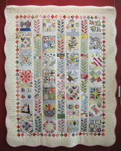 interesting setting for an applique sampler quilt - like the appliquéd sashing (fun way to use orphan blocks?)