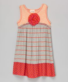 Look at this Heather Gray & Orange Stripe Swing Dress - Toddler & Girls on #zulily today!