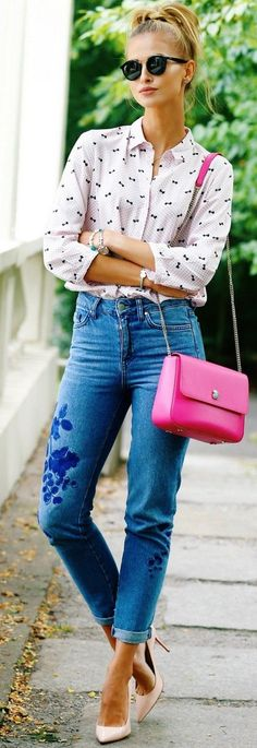 Printed Blouse + Patched Denim                                                                             Source