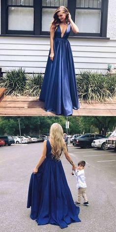 deep v neck prom dresses, long prom dresses,