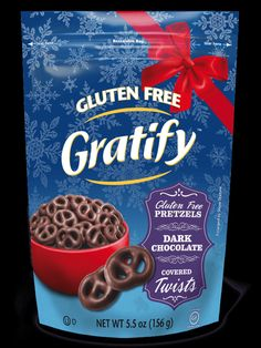 Dark Chocolate Covered Twists - Create a new holiday tradition with these rich and creamy dark chocolate coated pretzel twists. It's the perfectly sweet and salty holiday crunch. #glutenfree #glutenfreesnacks #sweet #darkchocolate #pretzels #coveredpretzels #seasonal #gratifyglutenfree