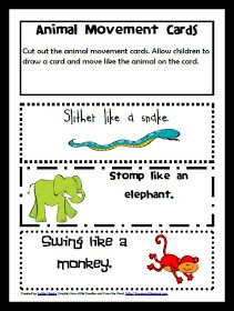 Zoo Themed Learning Activities for preschool Zoo Animal Movement Game printables, lessons, teaching ideas,
