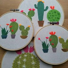 Embroidery Ideas Latest listing for cute cactus embroidery hoop art, the other designs will be listed very soon - This colourful cactus contemporary embroidery hoop art is a design created Cactus Embroidery, Modern Embroidery, Embroidery Hoop Art, Hand Embroidery Designs, Cross Stitch Embroidery, Embroidery Patterns, Embroidery Blanks, Contemporary Embroidery, Embroidered Cactus